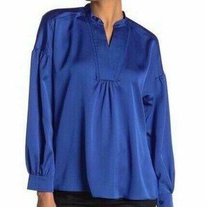 Laundry Shelli Segal Satin Bishop Blouse Blue 559